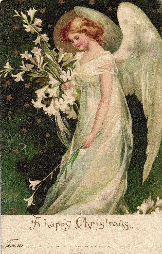 Открытки с ангелочками ретро, открытка