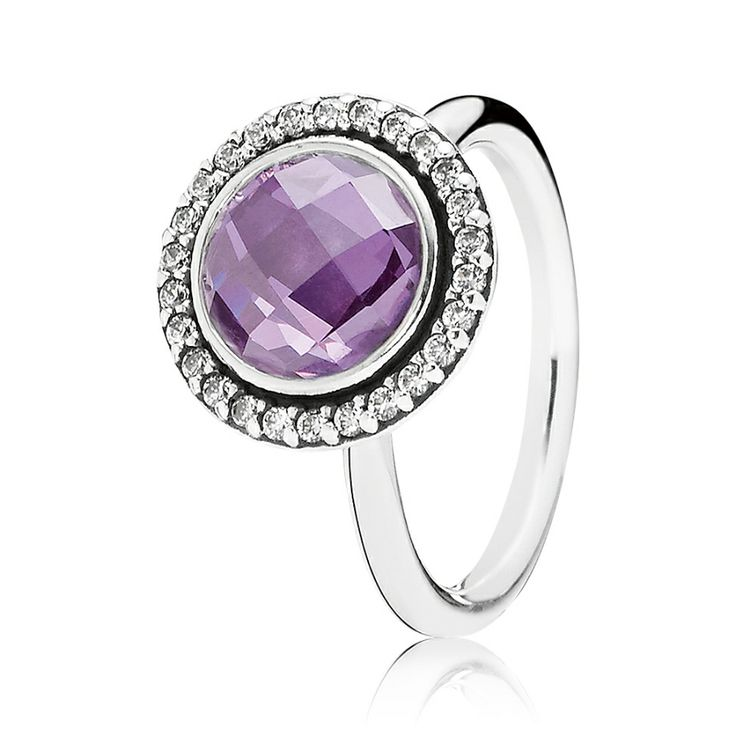 PANDORA Brilliant Legacy ring with purple cubic zirconia, in sterling  silver.