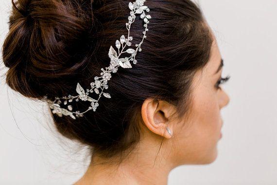 Boho halo, Halo de cristal cuentas Halo, Halo Floral, cristal cabello vid, vid de pelo Boho, caprichoso pelo vid, pedazo principal de novia, novia halo