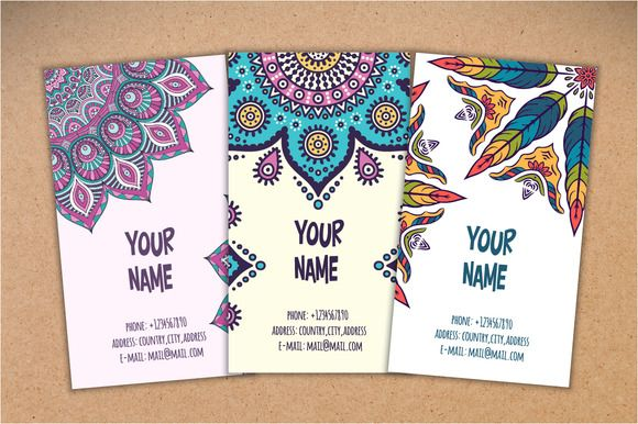 15 Business card in ethnic style by ViSnezh on Creative Market