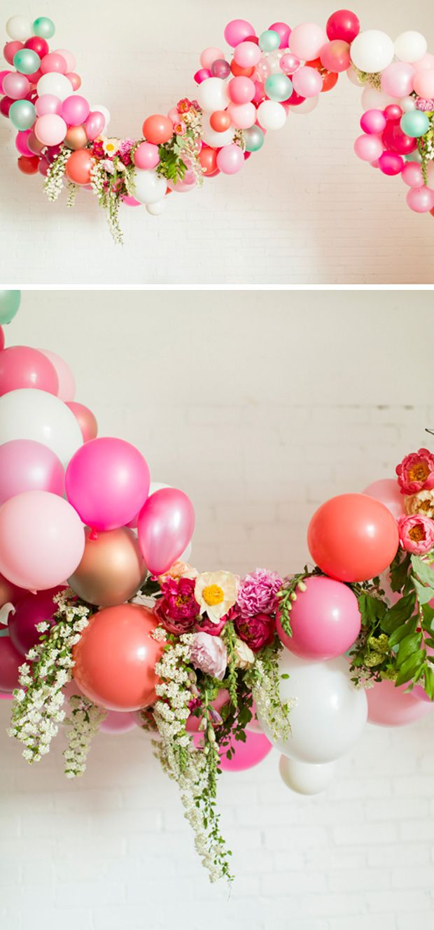 Balloon arch with flowers boho botanical bridal shower for Arch balloons decoration