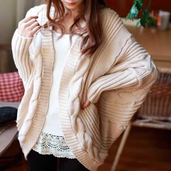Stylish Collarless Dolman Sleeve Cable-Knit Cardigan For Women