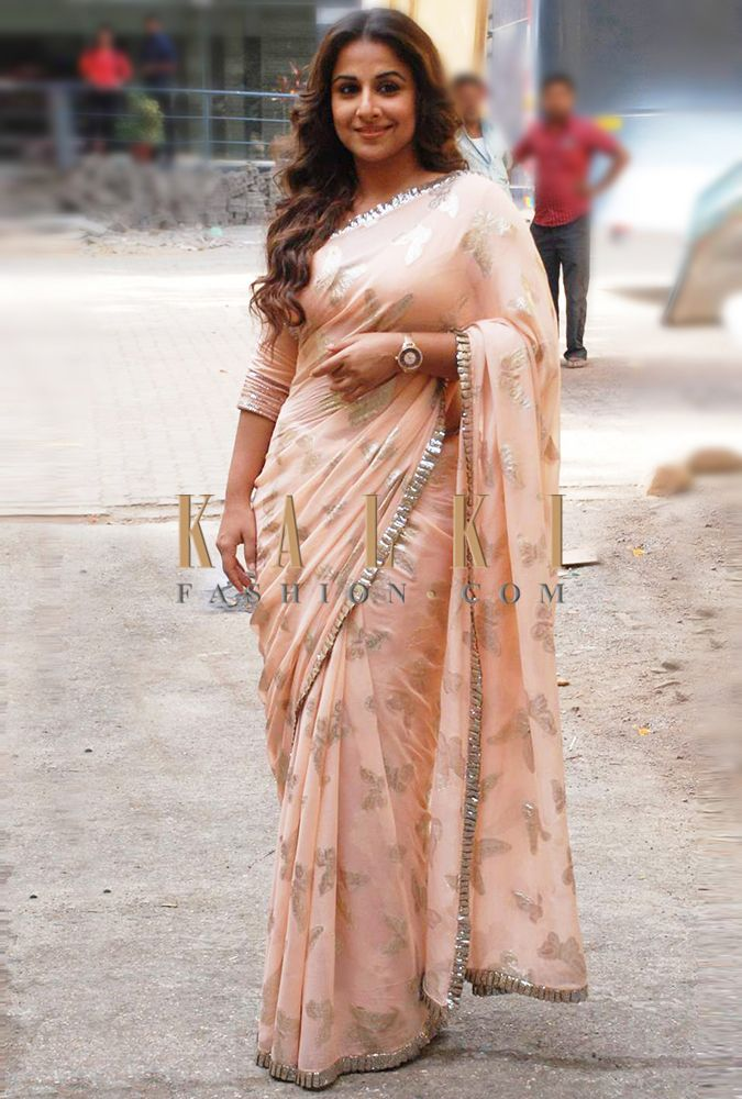 Must have Bollywood Style! Find a style match to the celebrity look of your choice at http://www.kalkifashion.com/sarees.html #Vidyabalan #saree #kalkifashion #kalkilove
