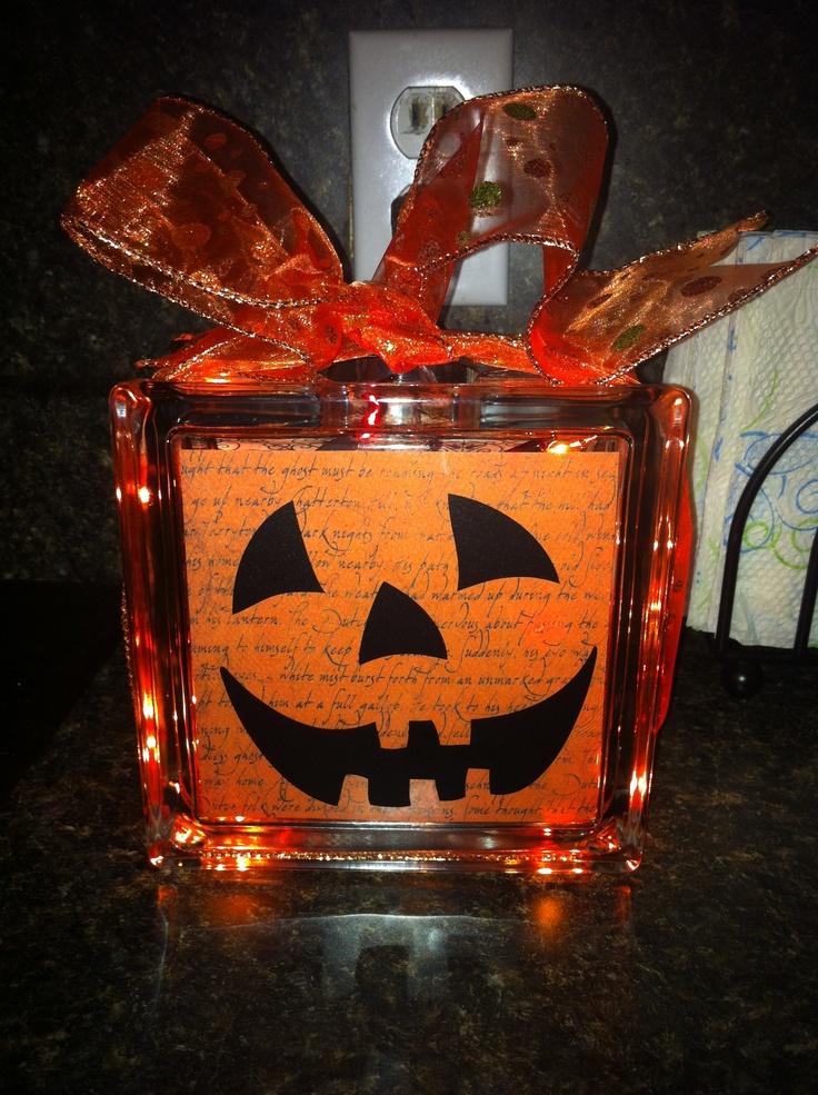 Best DIY Halloween Glass Blocks Images On Pinterest Glass - Halloween vinyl decals for glass blocks