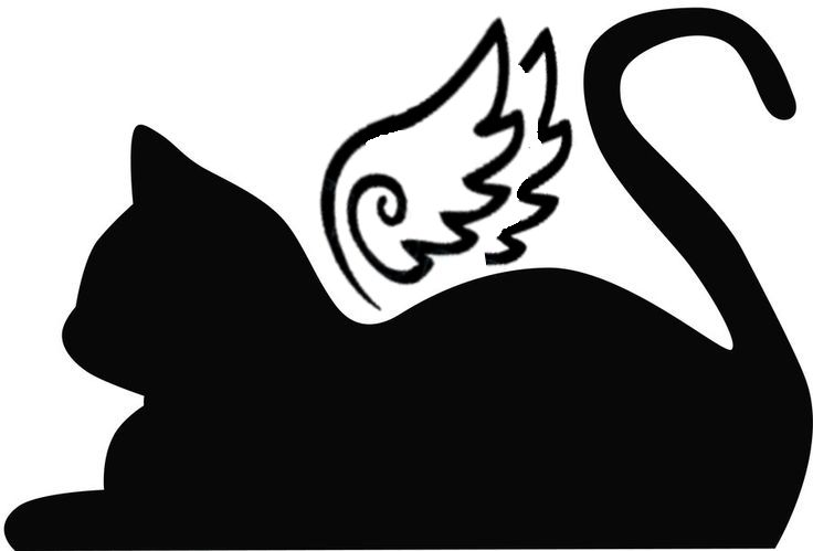Resting cat angel.  You can download into your cutting program and cut this into a card.  Very cute for the loss of a pet sympathy card.