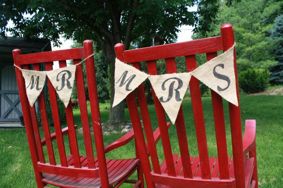 Mr. and Mrs. signs for back of chairs/ pictures/ photo booth at Wedding