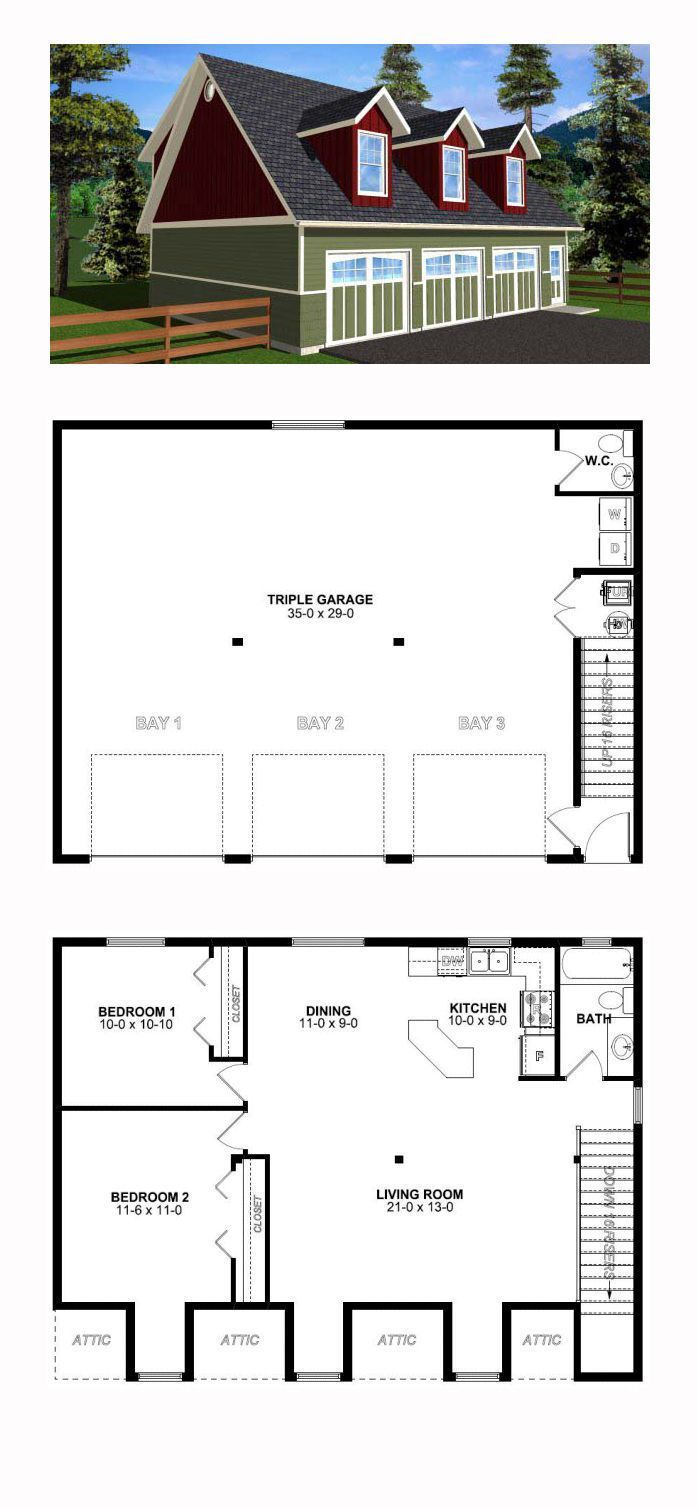 3 Car Garage Apartment Plan Number 99939 With 2 Bed 2 Bath