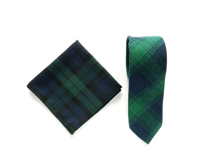 Men's green plaid tartan tie pocket square wedding tie gift for men skinny plaid scottish royal tartan tie groomsmen by TheStyleHubTrends on Etsy
