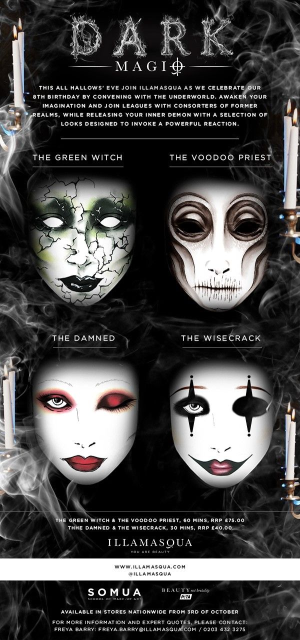 Our 2016 Halloween looks REVEALED...  Visit Illamasqua this All Hallows' Eve and experience our Express Yourself Halloween specials.  The Green Witch - The Voodoo Priest - The Damned - The Wisecrack.