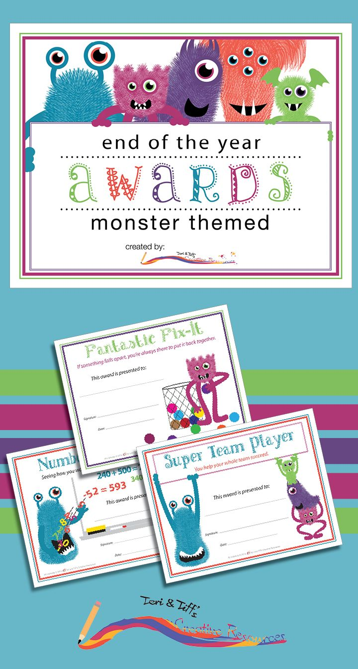 END OF THE YEAR AWARDS: These fun Monster Themed Awards are designed to help you celebrate your students' accomplishments. 36 award templates divided into three categories: School Subjects, Character Traits, and Admirable Behavior.  For Grades 1-6  Homeschool. $