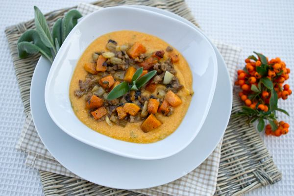 Pumpkin Polenta With Sausage, Fennel, & Roasted Pumpkin Ragu | Recipe
