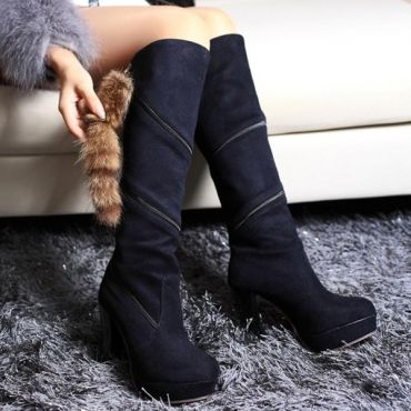 $21.99 Winter Round Toe Zipper Design Chunky High Heels Black Leather Knee High Cavalier Boots