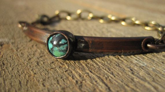 Copper & Turquoise Bracelet Chunky Copper riveted by CopperTreeArt, $60.00