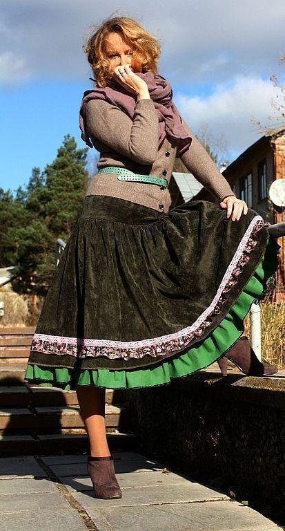 """Юбки ручной работы. Ярмарка Мастеров - ручная работа. Купить Юбка в стиле бохо """"Васаби"""". Handmade. Тёмно-зелёный"""