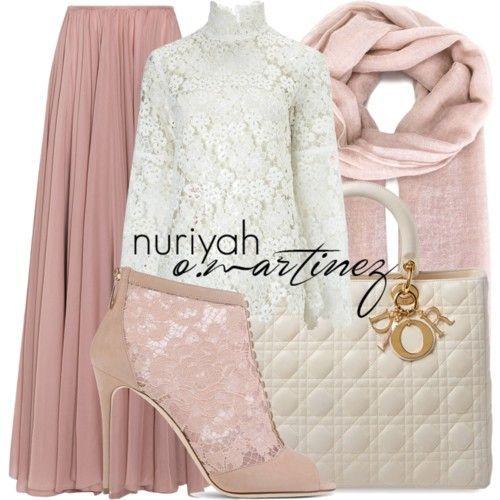 Hijab Fashion 2016/2017: Babypink mix white lace  Hijab Fashion 2016/2017: Sélection de looks tendances spécial voilées Look Descreption Babypink mix white lace