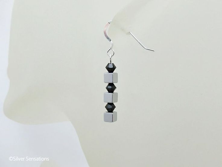 Elegant handmade #designer earrings with silver #Hematite cubes & jet black #Swarovski Crystals - £9.50 + P & P #handmadehour #brumisbrill #craftbiz #mumsinbusiness
