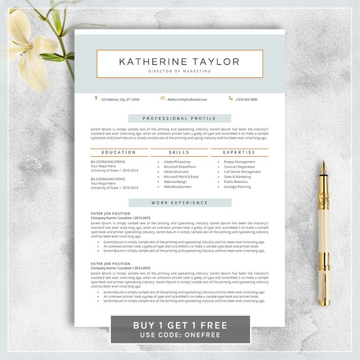 Professional Resume Template, CV Template For MS Word, Creative Resume,  Modern Resume Design