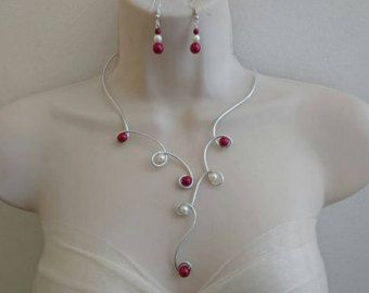 Parure joyería perlas marfil plateado fiestas de por Virgincreation