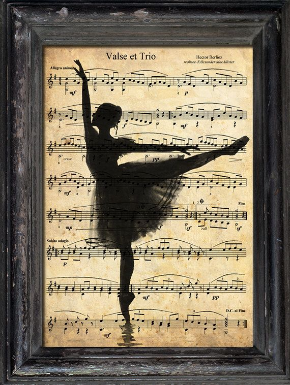 Print Art canvas paper gift Poster Collage Mixed Media Gift Ballerina Dance Illustration Reproduction of Vintage old Music Sheet Paper