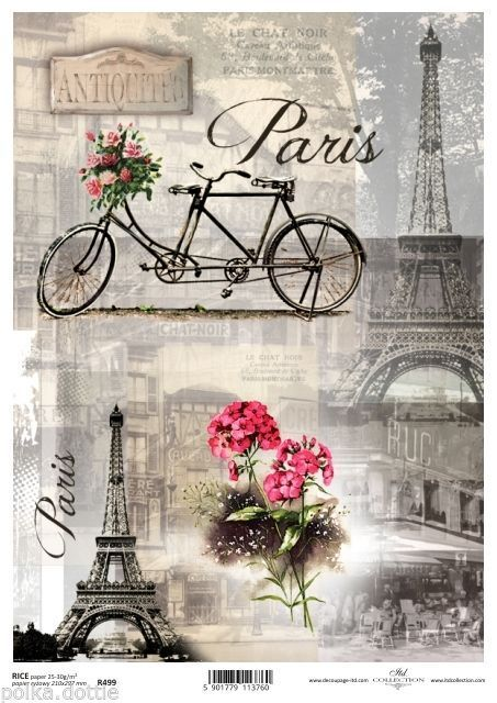Rice Paper Decoupage Scrapbook Embellishments Sheet Vintage Paris Eiffel French: