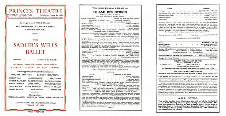 25th Oct 1944 Sadler's Wells Ballet at Prince's Theatre, Shaftesbury Ave.  Swan Lake starring Margot Fonteyn and Robert Helpmann.  Note the usual ARP warning notice.