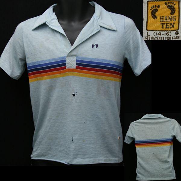Vintage HANG TEN Polo Tshirt Button Up White Color Size LL ESmie