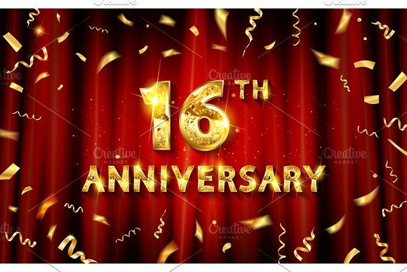 16 Years Anniversary Logo Templates Christmas Party Invitations Christmas Party Invitation Template Happy 16th Anniversary