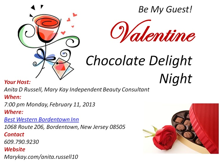 Join us for a bit of pampering, glamour, and just plain FUN! My Mary Kay director and I invite you to enjoy a Valentine's make-over and chocolate just for you!  Just bring your beautiful face and we'll do the rest!