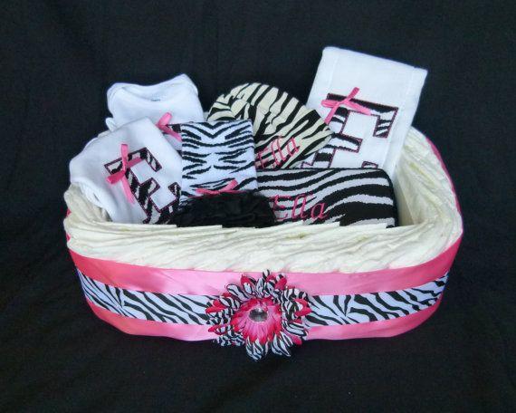 Diva Princess Zebra Tutu Baby Diaper Cake Hot pink by mamabijou, $80.00