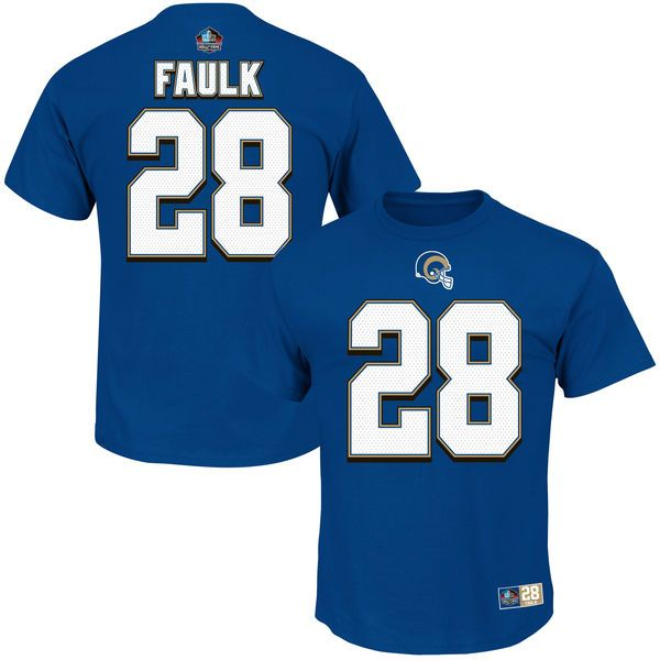 Marshall Faulk St. Louis Rams Majestic Hall of Fame Eligible Receiver II Name & Number T-Shirt - Navy Blue - $31.99