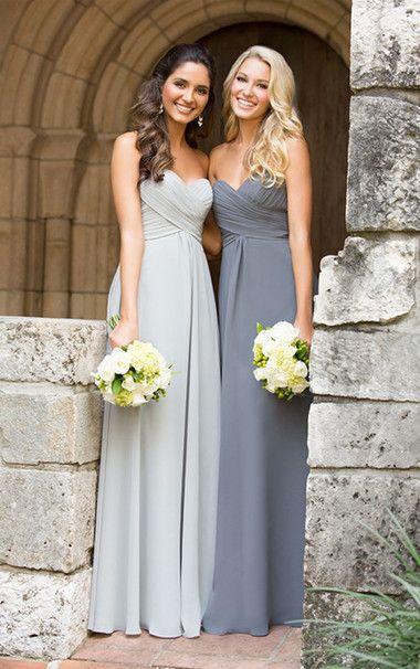 Column Simple Chiffon  Long Sweetheart Silver Grey Bridesmaid Dress UK