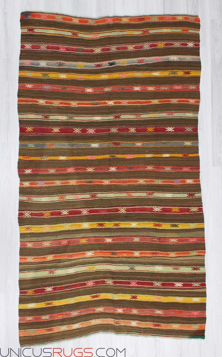 """Handwoven vintage decorative striped kilim rug from Fethiye region of Turkey. In good condition. Approximately 45-55 years old. Width: 4' 9"""" - Length: 8' 4"""" Striped Kilims"""