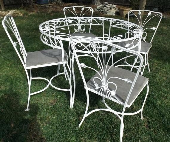 Vintage Meadowcraft Wrought Iron Patio Furniture Dining Room Woman Fashion Decoration