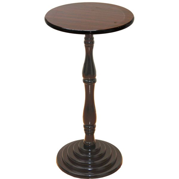 awesome Espresso Round Pedestal Accent Side End Table