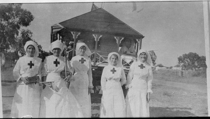 066524PD: left to right: Evelyn Thomson, Irene Thomson, Dorothy Archer, Eileen Dobson, Lotty Hilliard dressed as Red Cross Nurses to take part in the parade  https://encore.slwa.wa.gov.au/iii/encore/record/C__Rb2861626