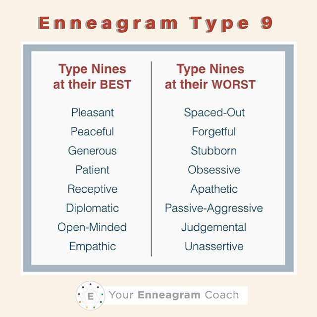 enneagram type 1 and 9 relationship mistakes