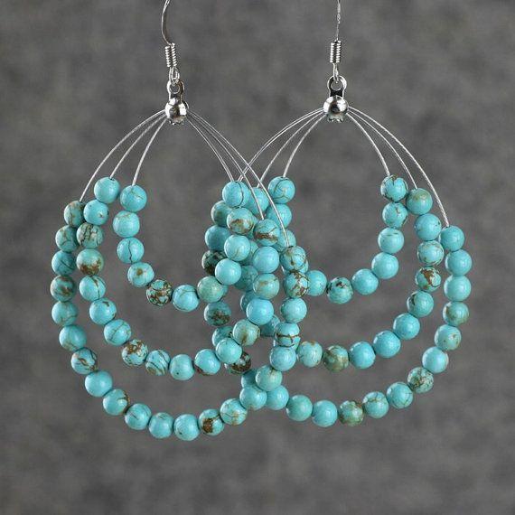 Turquoise big tear drop hoop earrings handmade