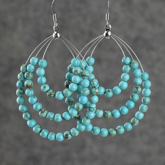 Turquoise big tear drop hoop earrings handmade by AniDesignsllc, $12.95
