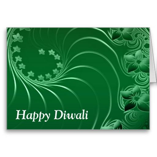 Happy Diwali with flower scrolls Greeting Cards