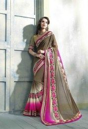 Multi Color Amazing Party Wear Saree With Beautiful Embroidery Work