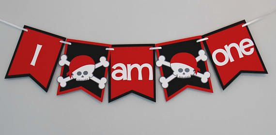 Red and black pirate 1st birthday highchair banner. Thus banner features ' I am one' and fits the average highchair. Click pin for more color and wording options.