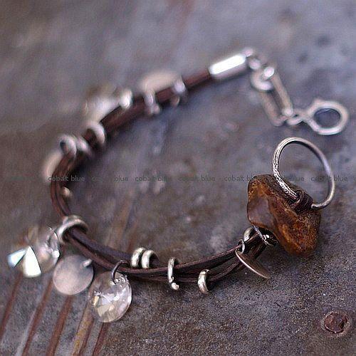 natural brown amber   bracelet   sterling silver by ewalompe, zł250.00