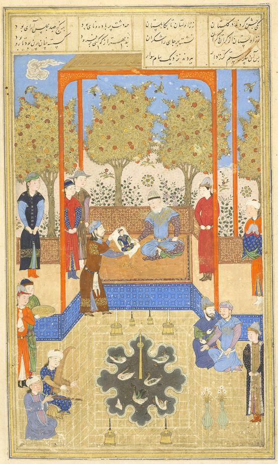 Portrait of the infant Rostam shown to Sam Ferdowsi, Shahnameh Timurid: Herat, c.1444 Patron: Mohammad Juki b. Shah Rokh Opaque watercolour, ink and gold on paper London, Royal Asiatic Society, Persian MS 239, fol. 30v