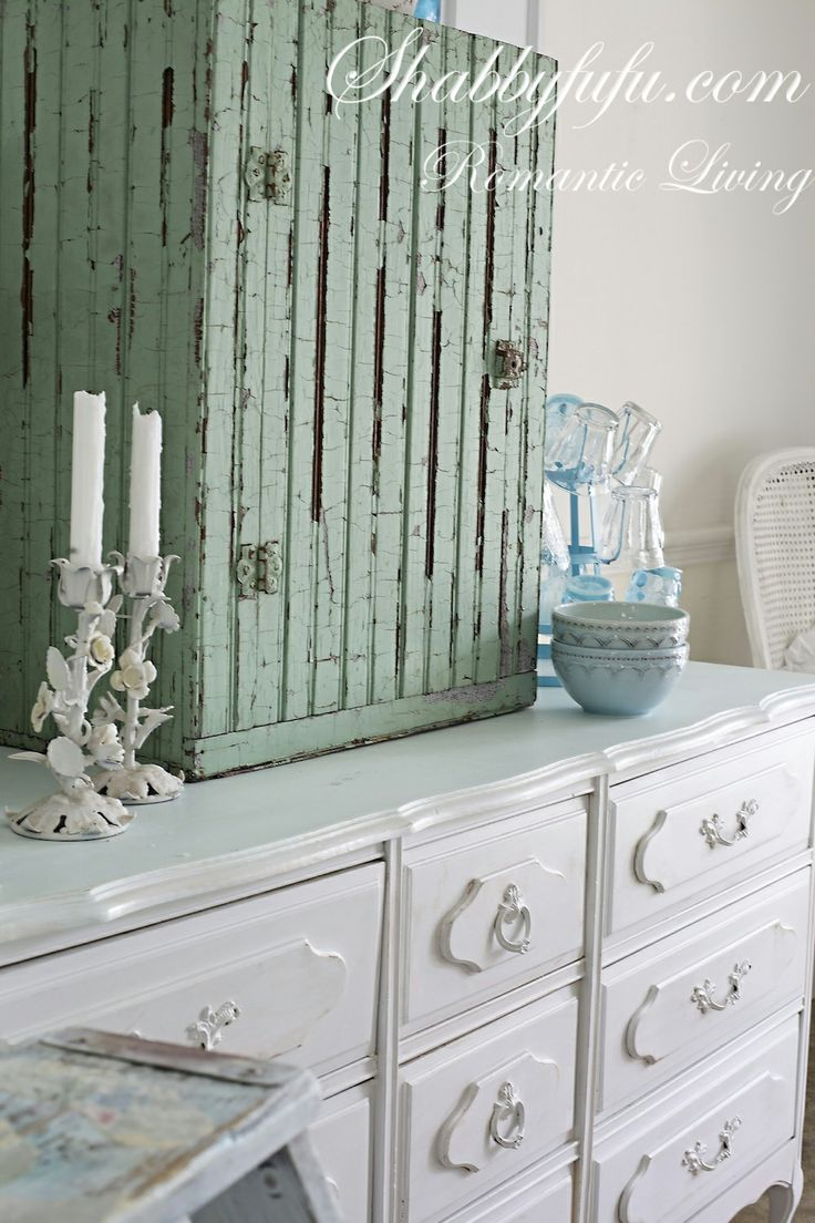 Repainted The Top Of This Cabinet With A Pale Mint Green