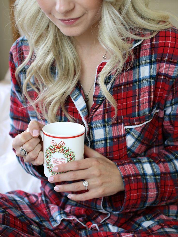 christmas mug and red flannel pyjamas - www.andreaclare.ca