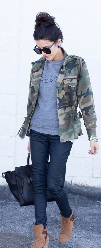 Military Trend: Christine Andrew is wearing a camouflage jacket from Club Monaco