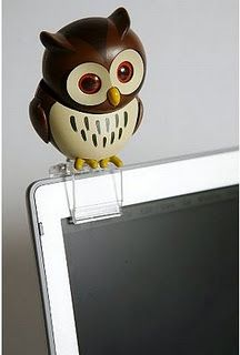 This owl swears to be your best friend at work or when you need a little cheering up. Plugs easily into your computer's USB port. He tilts his head, blinks his eyes and sleeps. The package includes 1 owl, tree stump, monitor clip, integrated USB drive. For $28.  urbanoutfitters.com