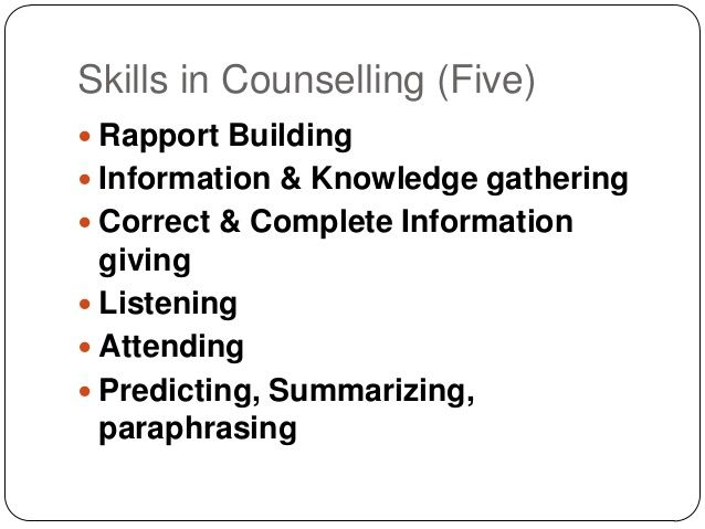 Paraphrasing in counselling skills