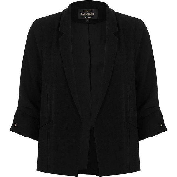 River Island Petite black ruched sleeve blazer (3.110 UYU) ❤ liked on Polyvore featuring outerwear, jackets, blazers, black, coats / jackets, women, one-button blazer, open front blazer, ruched-sleeve blazer and petite jackets