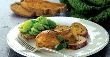 Perna de frango com alecrim e batata doce - Receitas   Pingo Doce